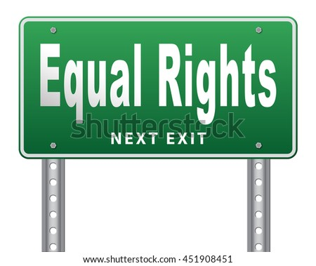 Equal rights no discrimination and same opportunities for all women man disabled black and white solidarity discrimination  3D illustration, isolated, on white  - stock photo