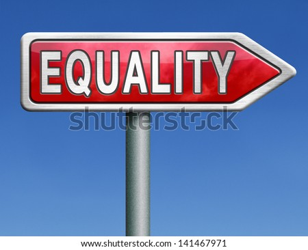 equality equal rights and opportunities for all women man disabled black and white solidarity discrimination of people with disability or physical and mental handicap red road sign arrow word - stock photo