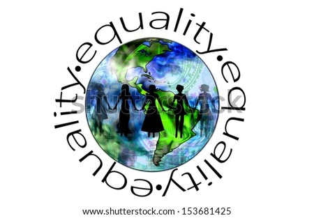 Equality Illustration of Women Around the World Uniting for Equal Rights - stock photo
