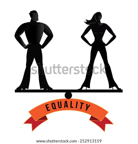 Equality man and woman balance royalty free stock illustration - stock photo