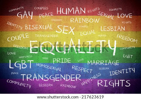 Equality Word Cloud on Rainbow textured background - stock photo