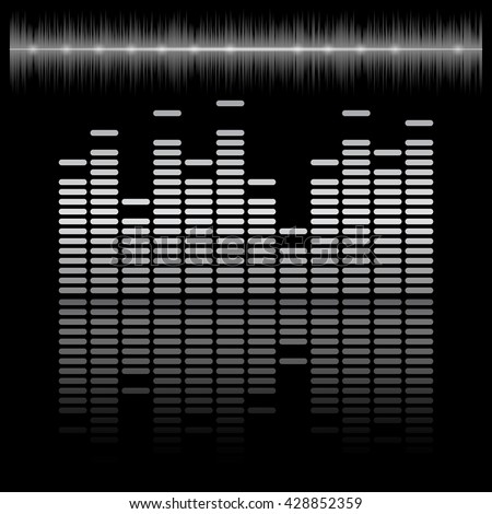 Equalizer bar with reflection and sound chart, 2d raster on dark background, black and white colors