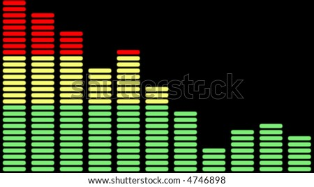 Equalizer chart, can represent decrease, decline, etc - stock photo