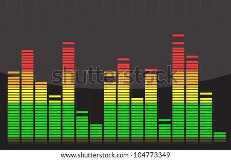 Equalizer lights colorful design illustration over back - stock photo