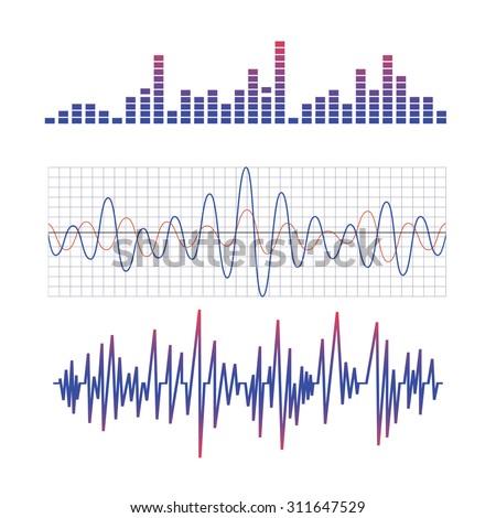 equalizer. scheme of radio waves - stock photo