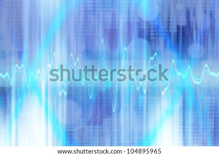 equalizer sound background theme; blue fractal wallpaper - stock photo