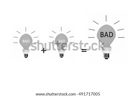 Equation of light bulbs, Plus to big bad idea lamp isolated on white background. Business concept.