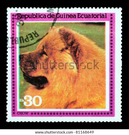 EQUATORIAL GUINEA - CIRCA 1978: A stamp printed by EQUATORIAL GUINEA shows a dog Chow, circa 1978 - stock photo