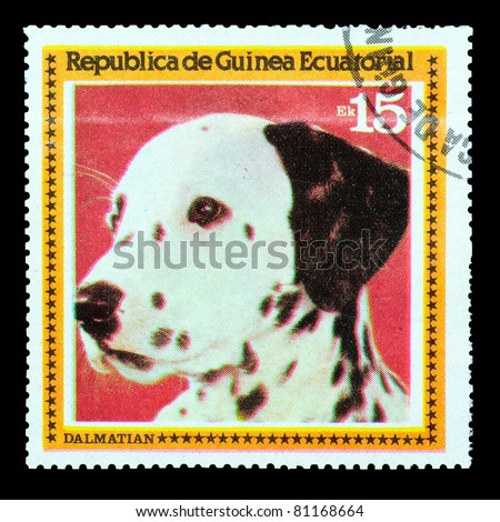 EQUATORIAL GUINEA - CIRCA 1978: A stamp printed by EQUATORIAL GUINEA shows a dog Dalmatian, circa 1978 - stock photo