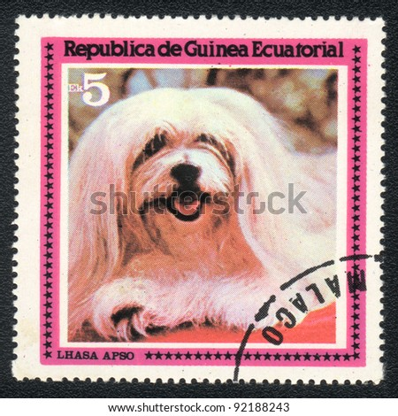EQUATORIAL GUINEA - CIRCA 1978: A stamp printed in EQUATORIAL GUINEA shows  a Lhasa Apso,  from series Breeds of dogs, circa 1978 - stock photo