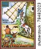 EQUATORIAL GUINEA - CIRCA 1975: A stamp printed in Equatorial Guinea shows Don Quixote, series, circa 1975 - stock photo
