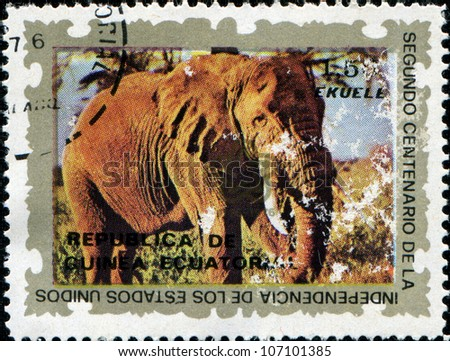 EQUATORIAL GUINEA - CIRCA 1976: A stamp printed in Equatorial Guinea shows elephant, circa 1976 - stock photo