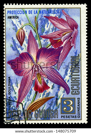 EQUATORIAL GUINEA - CIRCA 1974: A stamp printed in Equatorial Guinea shows Laelia Gouldiana, series is devoted to flowers, circa 1974