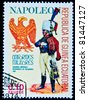 EQUATORIAL GUINEA - CIRCA 1974: A stamp printed in Equatorial Guinea shows soldiers of the Imperial Guard of Napoleon in uniform, circa 1974 - stock photo