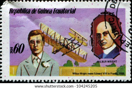 EQUATORIAL GUINEA - CIRCA 1979: A stamp printed in Equatorial Guinea shows Wilbur Wright meets Edward VIII in France, 1909, series, circa 1979 - stock photo