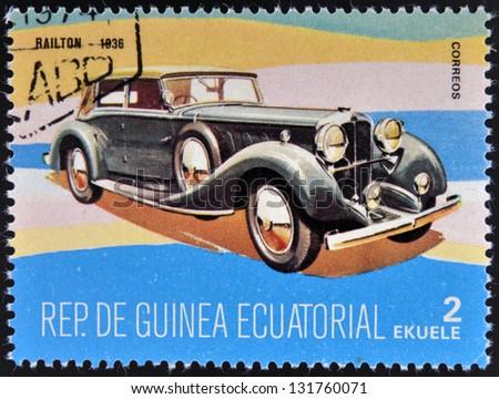 EQUATORIAL GUINEA - CIRCA 1974: A stamp printed in Guinea dedicated to vintage cars, shows Railton, 1936, circa 1974 - stock photo