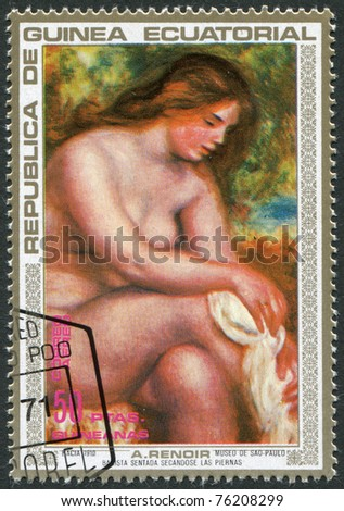 EQUATORIAL GUINEA - CIRCA 1973: A stamp printed in the Equatorial Guinea, shows a picture A. Renoir, Bather Drying her Leg, circa 1973 - stock photo