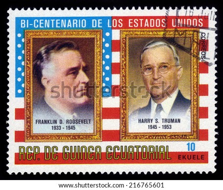 EQUATORIAL GUINEA - CIRCA 1975: A stamp printed in the Equatorial Guinea, shows former U.S. president F. D. Roosevelt and H. Truman, series American Bicentenary (Presidents), circa 1975 - stock photo