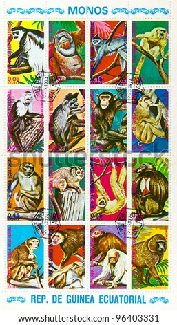 EQUATORIAL GUINEA - CIRCA 1974: A stamp sheet printed in EQUATORIAL GUINEA shows a collection different kinds of monkeys, circa 1974 - stock photo