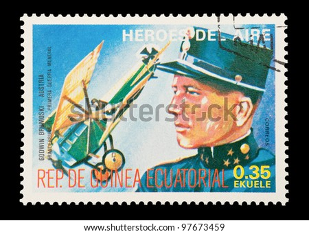 EQUATORIAL GUINEA - CIRCA 1974: Mail stamp printed in Equatorial Guinea featuring vintage WW1 military fighter ace Godwin von Brumowski, circa 1974