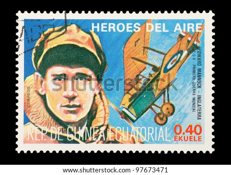 EQUATORIAL GUINEA - CIRCA 1974: Mail stamp printed in Equatorial Guinea featuring WW1 British military fighter ace Edward Mannock, circa 1974