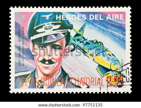 EQUATORIAL GUINEA - CIRCA 1974: Mail stamp printed in Equatorial Guinea featuring WW2 military fighter ace Adolf Galland, circa 1974 - stock photo