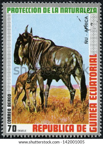 EQUATORIAL GUINEA - CIRCA 1976: stamp printed by Equatorial Guinea, shows Gnu Antelope, circa 1976 - stock photo