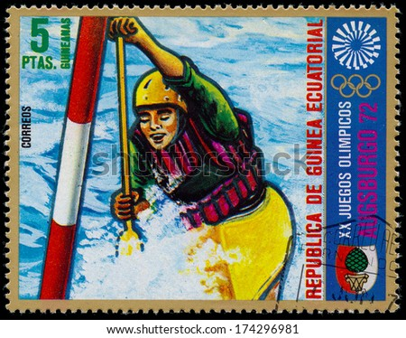 EQUATORIAL GUINEA - CIRCA 1972: stamp printed by Equatorial Guinea, shows Individual women's rowing, circa 1972