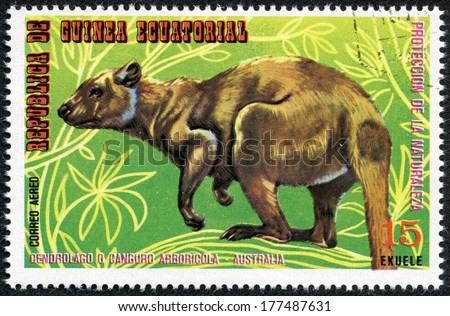 EQUATORIAL GUINEA - CIRCA 1974: Stamp printed in Guinea dedicated to endangered animals, shows kangaroo, Australia, circa 1974 - stock photo