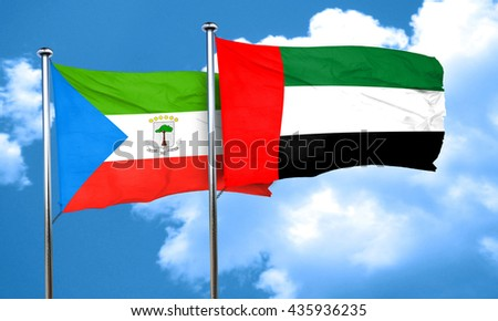 Equatorial guinea flag with UAE flag, 3D rendering