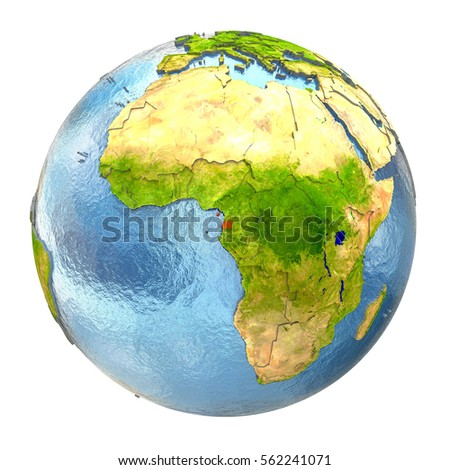 Equatorial Guinea highlighted in red on Earth. 3D illustration with highly detailed realistic planet surface isolated on white background. Elements of this image furnished by NASA.