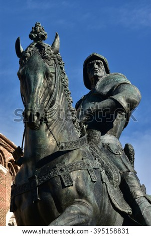 Equestrian bronze statue of Bartolomeo Colleoni, a powerful italian soldier of fortune during Renaissance, cast by artist Andrea del Verrocchio in the 15th century. In the center of Venice. - stock photo