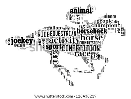 Equestrian info-text graphic and arrangement concept on white background (word cloud)