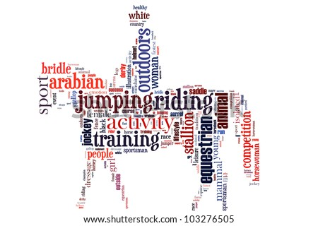 equestrian info-text graphics and arrangement concept (word cloud) - stock photo