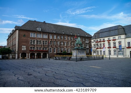 Equestrian monument of Johann Wilhelm II (Jan Wellem) and Old Town Hall of Dusseldorf, Germany - stock photo