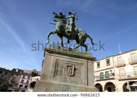 Equestrian monument to Francisco Pizarro, Old town of Trujillo, Caceres province, Extremadura, Spain