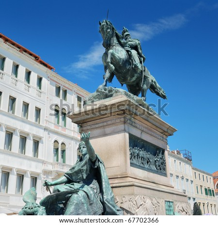 Equestrian monument to Victor Emmanuel II on the Riva Degli Schiavoni in Venice, Italy.