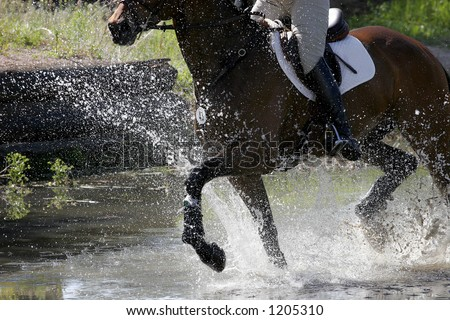 Equestrian Rider & Horse Splash Through A Water Obstacle During A Competition. - stock photo