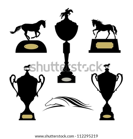 Equestrian sports trophies vector set. Raster version of the loaded vector - stock photo