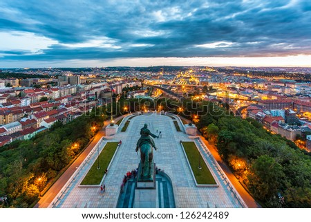 Equestrian statue above Prague city - stock photo