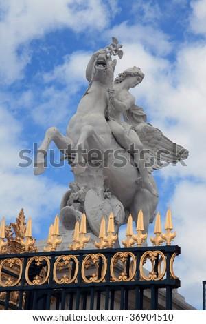 Equestrian statue in Paris - stock photo