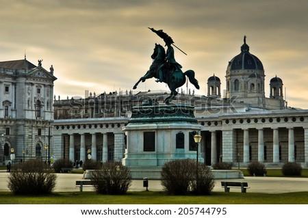 Equestrian statue of Archduke Charles of Austria (Erzherzog Karl), Imperial palace (Hofburg), Heldenplatz, Vienna. In the background the Museum of Art History (Kunsthistorisches Museum Wien) - stock photo