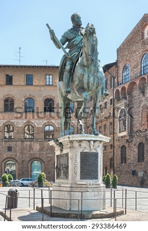 Equestrian statue of Cosimo de 'Medici. Florence, Italy - stock photo