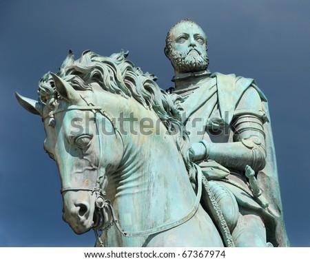Equestrian statue of Cosimo I de' Medici on the Piazza della Signoria, by Giambologna. Florence, Italy. - stock photo