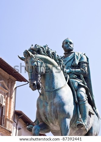 Equestrian statue of Cosimo I in Florence - stock photo