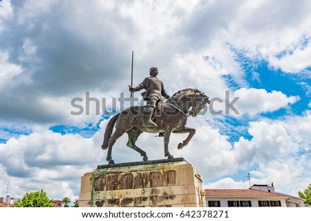 Equestrian statue of Dom Nuno Alvares Pereira in front of the Monastery of Batalha, Portugal