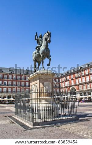 Equestrian statue of Felipe III in the Plaza Mayor (Main Square) in Madrid, Spain. - stock photo