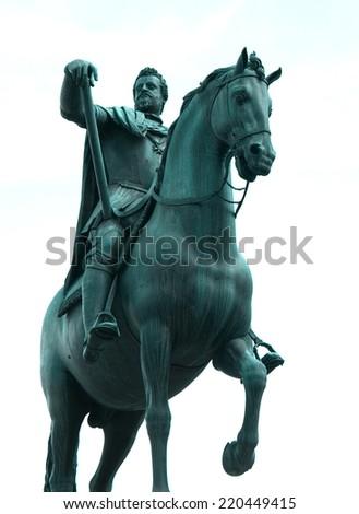 Equestrian statue of Ferdinando I de Medici on the Piazza della Santissima Annunziata, Florence, Italy - stock photo