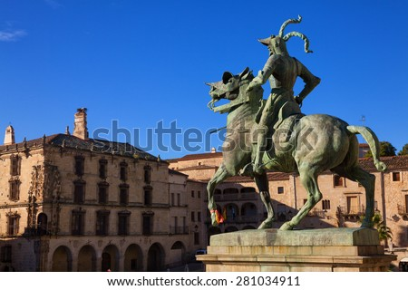 Equestrian statue of Francisco Pizarro (conqueror of Peru) in Trujillo main square, province of Caceres, Spain