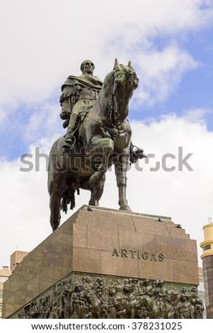 Equestrian statue of General Artigas in Plaza Independencia, Montevideo, Uruguay - stock photo